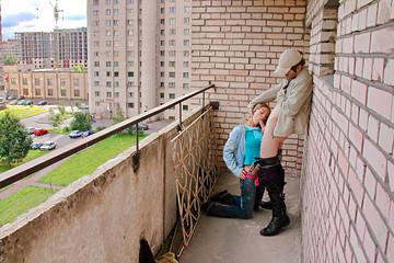 Public blow job on the balcony