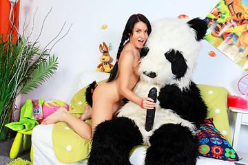 Panda's brutal dildo porn action