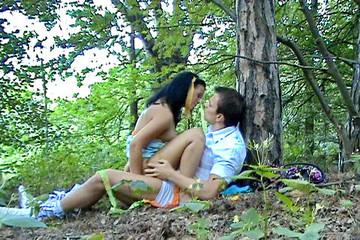 Amateur couple's park entertainment