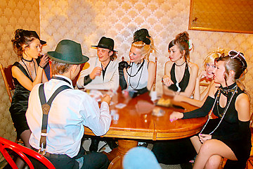 Hot sex party in retro style